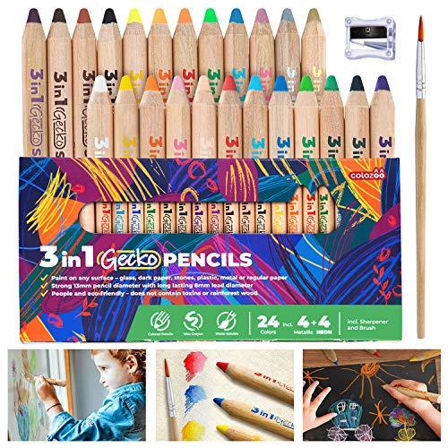 Colozoo - 3 In 1 Farbstifte Set (24 Farben) | Dicke Buntstifte Set inklusive Pinsel und Anspitzer | Ungiftige und Vegane Farben für Kinder ab 3 Jahren