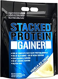 Evlution Nutrition Stacked Protein Gainer Protein Powder with 50 Grams of Protein, 12 Grams of BCAAs and 10 Grams of Glutamine (Vanilla Ice Cream, 12 LB)