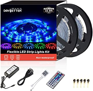 DAYBETTER Led Strip Lights Waterproof 10M/32.8 Ft Color Changing RGB SMD 3528 600 LEDs, LED Ribbon for Home/Kitchen/Bedroom/Holiday Light Strips Power Adapter Included (Renewed)