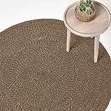 Homescapes - Alfombra redonda lisa, de algodón, diseño en espiral, para el dormitorio o el salón, crema, 120 cm