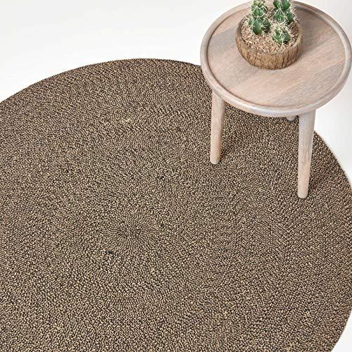 Homescapes - Tappeto Rotondo Piatto, in Cotone, a Spirale, per Camera o Salotto, Crema, 120 cm