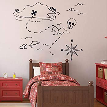 Personalised Pirate Map Inspired Design Childrens Wall Decal Vinyl Sticker