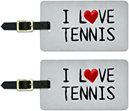 Graphics & More I Love Tennis Written on Paper Luggage Suitcase Carry-on Id Tags, White
