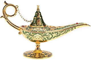 Wal front Aladdin Lamp, Metal Carved Hollow Legend Lamp Hollow Aladdin Magic Genie Light Wishing Pot Home Decorations(Green)