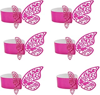 Hemore 50 PCS 3D Laser Cut Butterfly Wine Glass Cards Table Napkin Ring Cards for Wedding