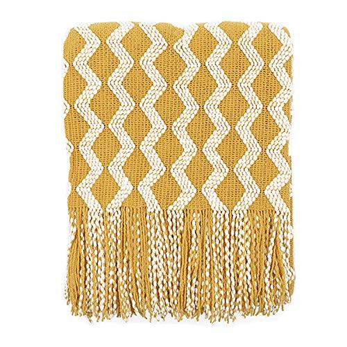 WINLIFE Manta para sofá de estilo nórdico con borla, manta geomítrica para cama de 120 x 200 cm, Moderno, Amarillo, 47.2 x 78.7 in