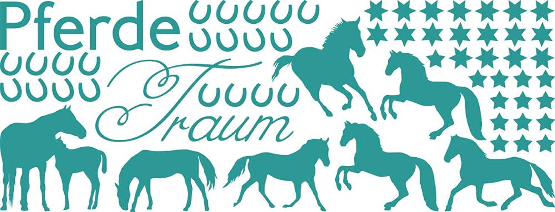 Graz Design Wandtattoo Aufkleber Tattoo Set für Mädchenzimmer Pferde Sterne Hufeisen (149x57cm    054 türkis) B00IJXF9MO