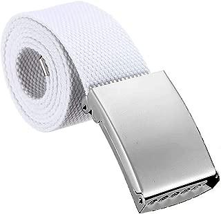 3ZHIYI Cintur/ón de cuero para hombre con Hebilla de pin de estilo empresarial Hebilla de plata piel genuina blanco