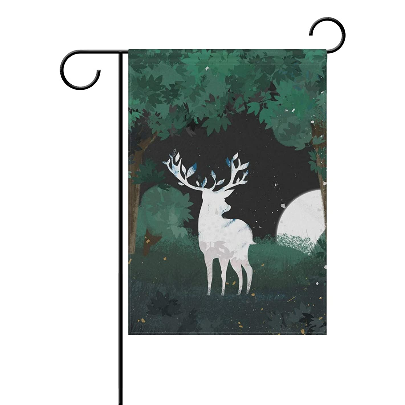 Chic Houses Reindeer Forest Watercolor Painting Home and Garden Flag, Lovely Animal Silhouette Fairy Tale Nice Decorative Flags for Outside, Great Gift 12 x 18 Inch 2030918