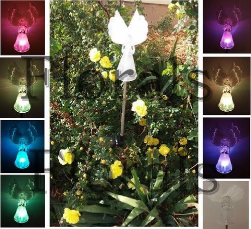 Set of 3 Solar Powered Optic Wings Angel Color Changing Yard LED Outdoor Landscape Light(no Electric Cost)