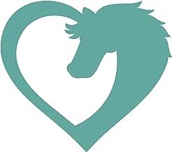 WickedGoodz Die Cut Heart Horse Decal - Equestrian Bumper Sticker - Perfect Horse Gift (Mint)