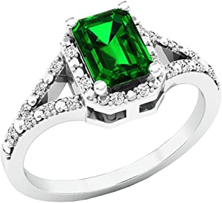Dazzlingrock Collection 7X5 MM Emerald Cut Lab Created Emerald & White Diamond Ladies Engagement Ring, Sterling Silver