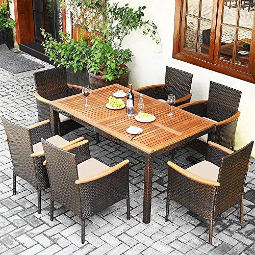 YRRA 7 Stück Terrasse Rattan ESS-Set Outdoor-Konversations-Set W/Holz-Tischplatte & Regenschirm-Loch Stapelbare Stühle W/Weiche Kissen Tabelle und Stuhl-Set (Beige)