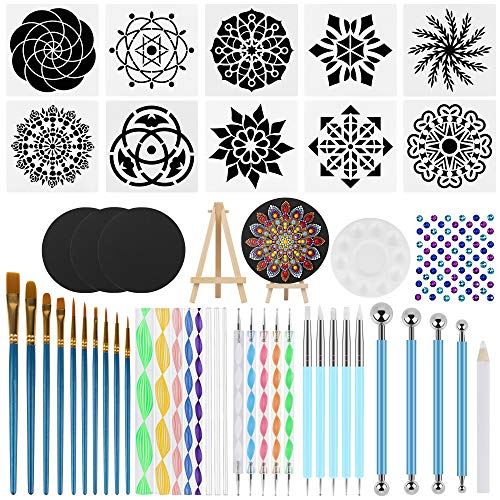 Azerogo Mandala Dotting Tools Set with 3 Cardboards - 49 PCS Professional Supplies Tools Kits Include 10 Stencil Templates, Mini Easel, Paint Tray for Painting Rocks, Mandella Art & Drawing