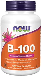 NOW Supplements, Vitamin B-100, Energy Production*, Nervous System Health*, 100 Veg Capsules
