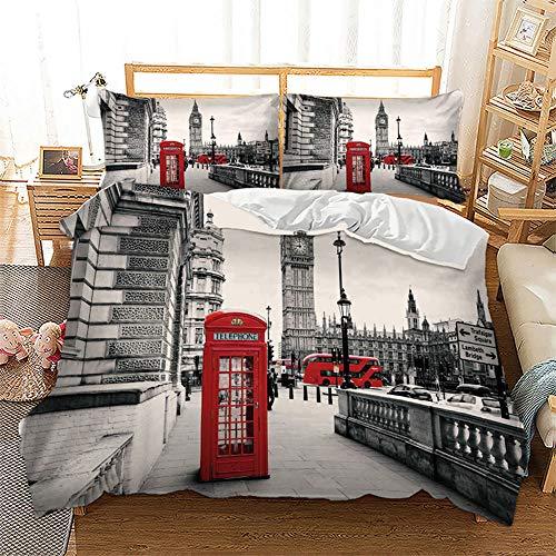 Juego de funda de edredón de 3 piezas, diseño retro de Londres París, Big Ben rojo cabina de teléfono juego de cama con edredón, funda de almohada y cremallera, Patrón 3, Double Size 3 pcs