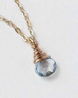 Tiny Sky Blue Topaz Briolette Pendant Necklace on Gold Filled Chain - December Birthstone Jewelry for Teens
