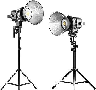 GVM 80 W LED Video Beleuchtungsset mit Ständer, 5600 K 13000 Lux / 0,5 m Tageslicht Dauerlicht Beleuchtung für Studio Fotografie, Portraitprodukte, Video Aufnahme Beleuchtung