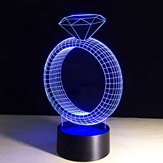 Night Light Lamp Creative diamond ring pattern acrylic night light Intelligent LED Colorful Color Lamp Portable Touch Control and remote control Button Control Night Light Table Lamp, Gift for Teens K