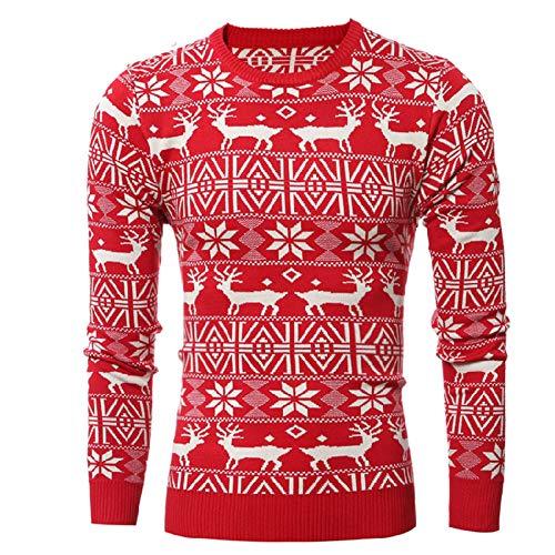 CHIYEEE Natale Maglione Da Uomo In Maglia Grossa Collo Rotondo Pullover Manica Lunga Maglieria Da Uomini Cime Invernali Autunnali Rosso M