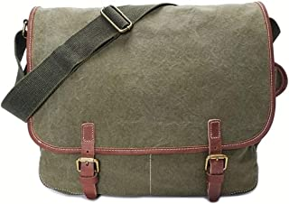 Sling Retro Canvas Crazy Horse Leather Unisex Messager Bag Large Capacity Multi-Function Travel Bag (Color : Green)