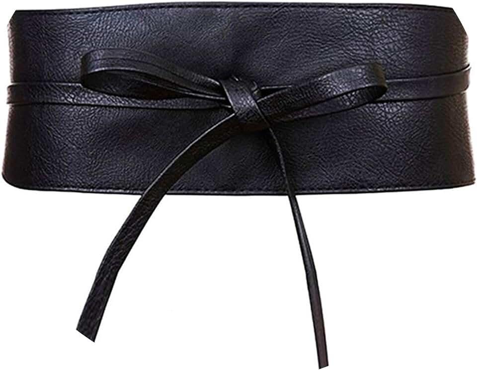 Boho Belt for Women Faux Leather Wrap Around Obi Style Cinch Waistband Black Cummerbund Brown Women Belt