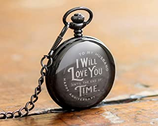 Engraved Wedding Anniversary Pocket Watch with Chain for Husband, a Classy Gift Set for Him with Elegant Gift Box, 1 Year Anniversary Gift Clock