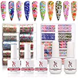 SXC G-18 Nail Art Foil Glue Gel Complete Kit with Foil Stickers Nail Transfer Tips Manicure Art DIY 2X 15ML, 20PCS Flower Stickers 3X 8ml Top Coat, Matte Top Coat & Base Coat, UV LED Lamp Required