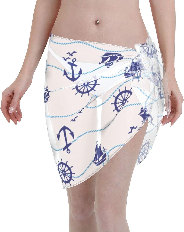 Jeezhub Sea Safety Rope Anchor Rudder Ship Women Short Sarongs Beach Wrap Sheer Bikini Wraps Chiffon Cover Ups for Swimwear Black