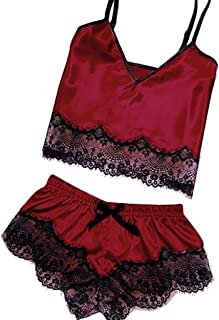 Womens Pajams Satin Sling Lingerie Lace Bowknot Nightdress