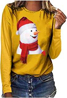 HebeTop Women's Plus Size Christmas T Shirt Long Sleeve Striped Patchwork Snowflake Printed Tops Blouse