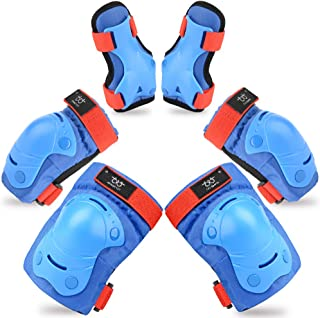 TXJ Sports Kids Knee Pads Elbow Pads Wrist Guards Protective Gear Set for Skateboarding Skating Bike Rollerblade Bicycle Inline Scooter Riding