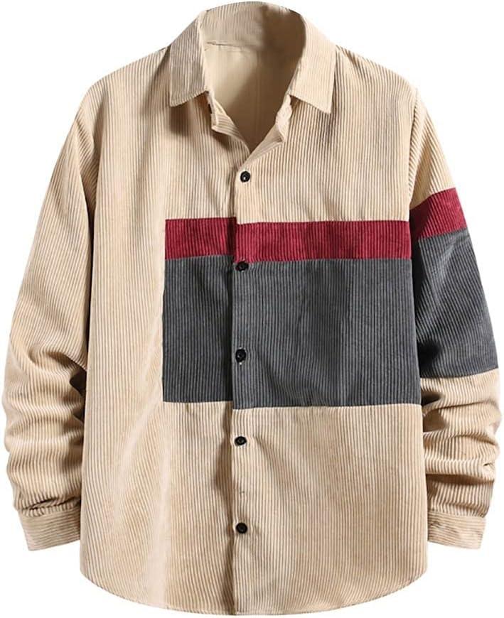 UXZDX CUJUX Men's Fashion Spring Shirt Patchwork Large-scale sale Corduroy Luxury goods Casual