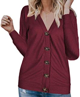 S-Fly Womens Fashion Waffle V Neck Shirt Plain Buttons Long Sleeve Blouse Tops