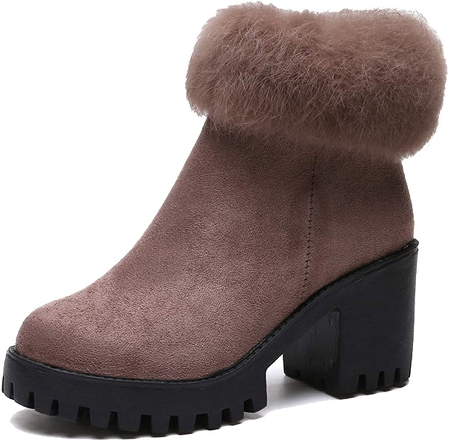 Kyle Walsh Pa Women Classic Ankle Boots Warm Fur Square High Heel Platform Ladies Winter Fashion Booties