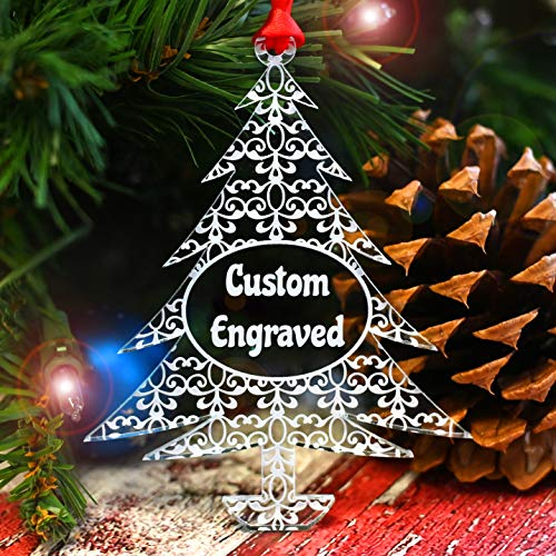 LHS Engraving | Xmas Tree Decorations Personalized Christmas Ornament 2020 | Best Xmas Gifts for Newlyweds, Babies First, Weddings, Couples, Clear Acrylic Custom Engraved Keepsake | Lace Pattern