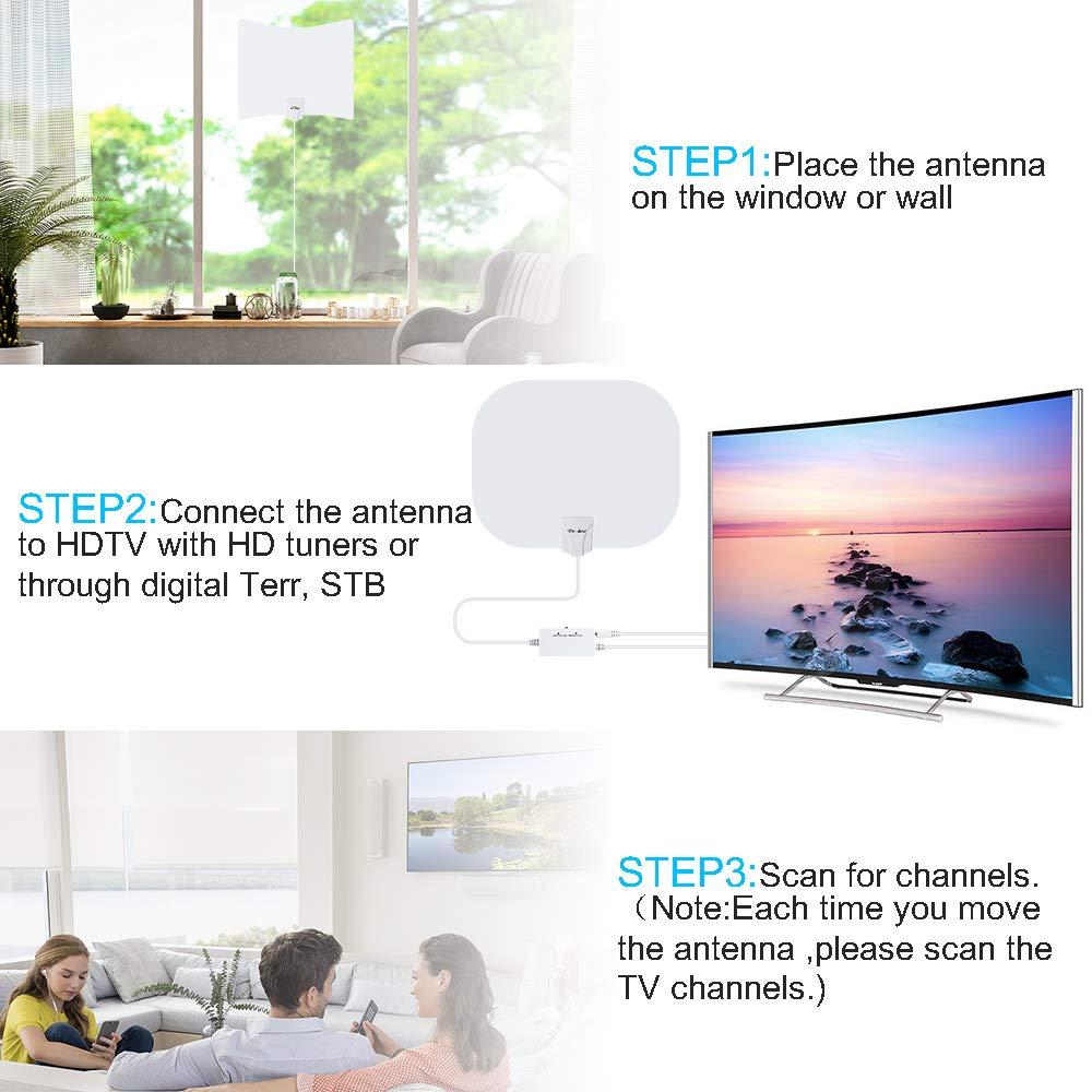 Antena de TV Interior, Oval Negro Antena de TV Digital para Interiores de Alcance de 240KM con Amplificador Inteligente de Señal, Adecuada para Canales de TV Gratis 1080P 4K, Cable Coaxial de
