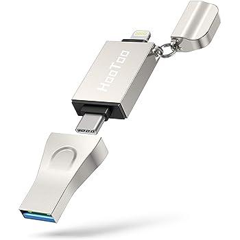 iPhone Flash Drive 3 in 1, HooToo 128GB MFi Certified Photo Stick, USB 3.1 USB C Flash Drive Memory Backup for iPhone, iPad, Type-C Phone, MacBook and Windows PC
