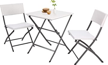 5Rcom 3 Piece PE Rattan Patio Bistro Sets,Outdoor Patio Furniture Weather Resistant,Foldable Garden Table and Chairs,Perfect for Balcony, Patio, White