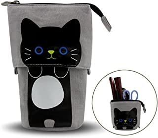 Pencil Holder, Cartoon Cute Cat Pencil Case Telescopic Canvas Pencil Pouch Multifunctional Stationery Pen Case Box with Metal Zipper for Girls & Children (Gray)