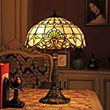 Gweat 16 pulgadas barroco europeo tiffany lámpara de mesa dormitorio de la lámpara de cabecera de la lámpara