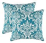 TreeWool Dekorativer Kissenbezug (40 x 40 cm, Blaugrün) Damask Design 100% Baumwolle (2er Pack)