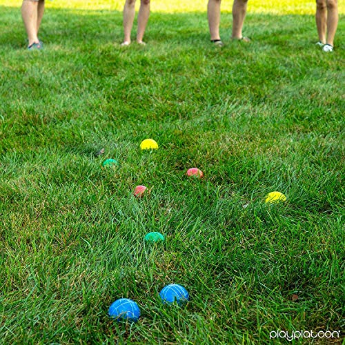 Play Platoon 90 mm Bocce Ball Set with 8 Premium Balls, Pallino, Carry Bag & Measuring Rope