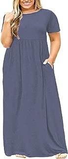POSESHE Women's Plus Size Tunic Swing T-Shirt Dress Short Sleeve Maxi Dress with Pockets