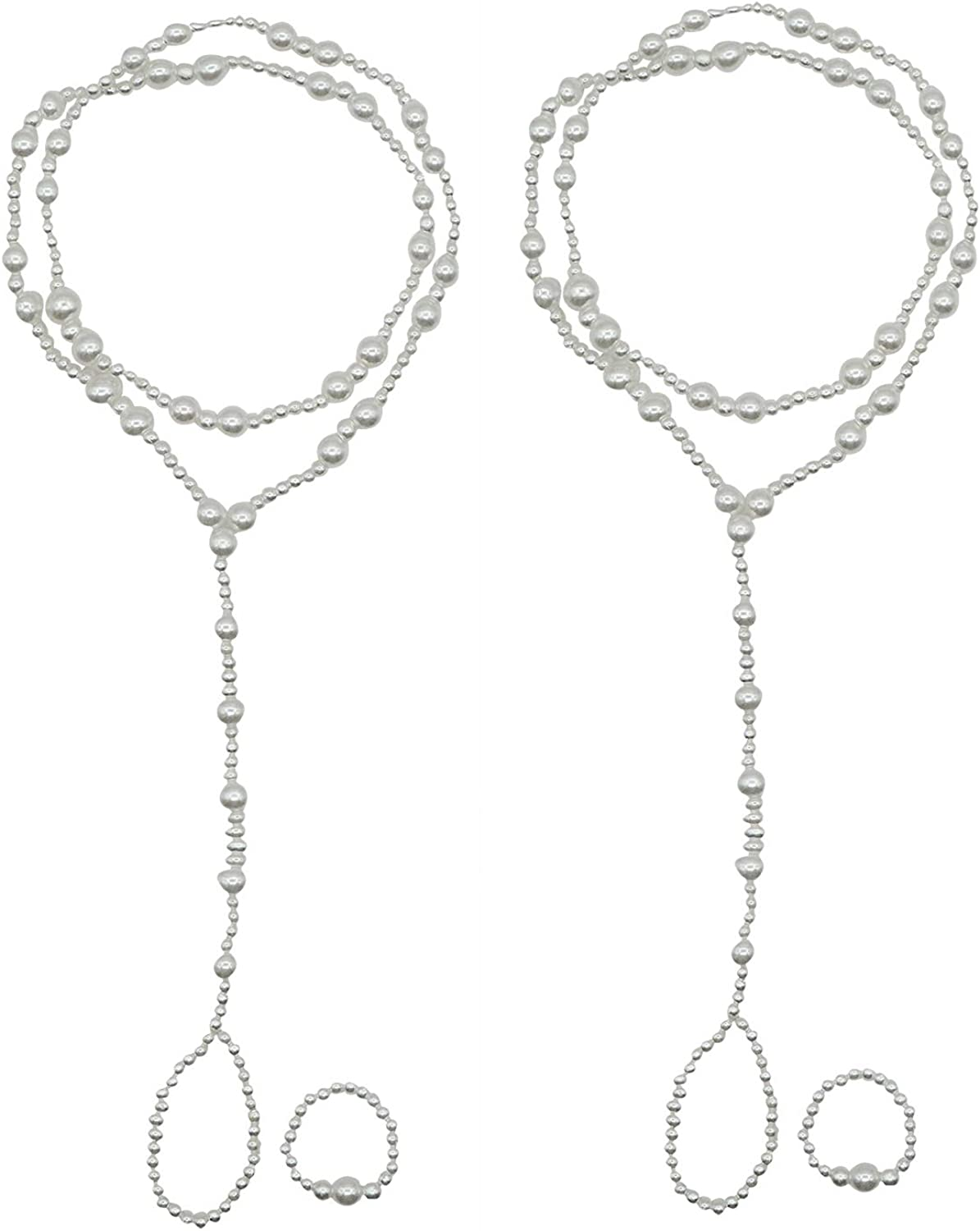 Bellady 2 Pcs Womens Beach Imitation Pearl Barefoot Sandal Foot Jewelry Anklet Chain