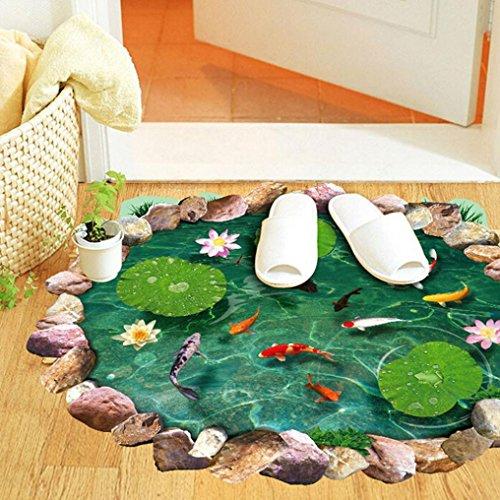 Ularmo 3D Fischteiche-Wand-Aufkleber-Kunst-Abziehbild-Wandaufkleber Boden