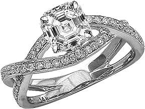 0.71 Carat 14K White Gold Eternity Love Intertwine Twisting Split Shank Asscher Cut Diamond Engagement Ring (0.46 Ct G Color VS2 Clarity Center Stone)
