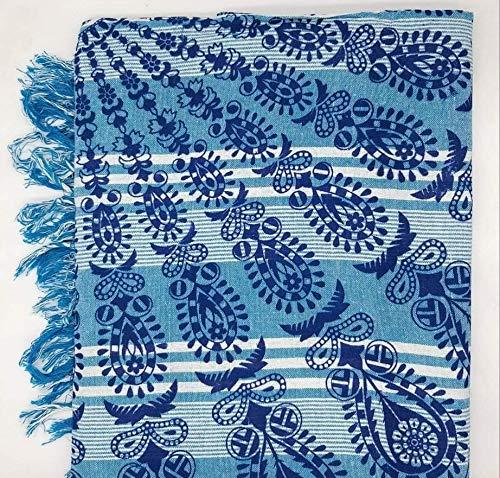 Goodforgoods Decoración de Mandala y Elefantes para la Playa, Piscina, tapicería Cubre Sofa, Mesa sillón, decoración Pared. 100% algodón 210x240 cm. (Turquesa y Blanco 2, 206x230)