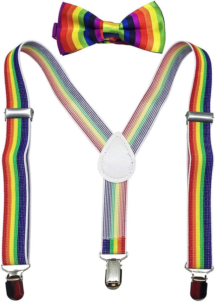 Kid Boys Adjustable Y Back Clip Suspenders and Pre-tied Bowtie Set