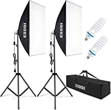 ESDDI Softbox Kit Iluminacion Fotografia con 2 Softbox 50x70cm, 2 Bombilla de Luz 800W, 2 Tripodes, 1 Bolsa de Transporte, Luz Continua para Estudio Fotográfico Profesional
